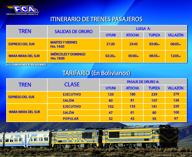 oruro to uyuni train schedule and prices